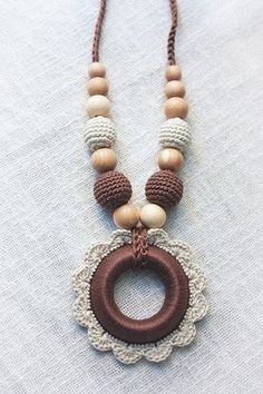 Babywearing Teething Nursing necklace for Mom with Crochet Pendant Wooden Ring…