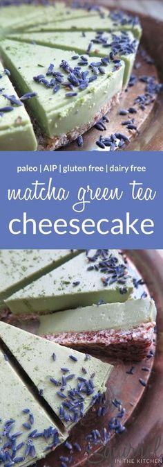 A Squirrel in the Kitchen | No-Bake Matcha Green Tea Cheesecake [Dairy-Free-Gluten-Free-Paleo-AIP] | http://asquirrelinthekitchen.com