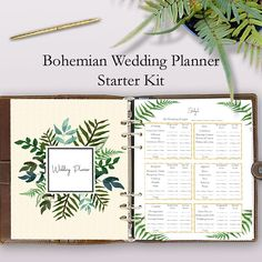 The best wedding planning binder printables - Binder starter kit for a bohemian wedding!  These wedding planner printables are a great starter kit to add to your wedding planner book or wedding planning notebook.https://www.etsy.com/listing/521564133