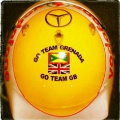 Lewis Hamilton's helmet at today's race.  His support for Team Grenada.  As you may know he is a Grenadian too!!!!