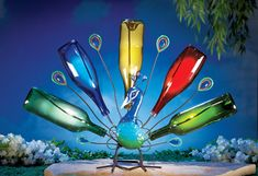 Solar Garden Peacock Wine Bottle Tree - Impressive @ night when the bottles light up - Wine bottles are not included. $20