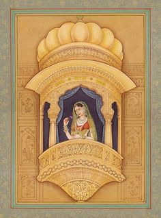 The Heroine in Her Wind Palace, Mughal Water Color Painting On PaperArtist: Navneet Parikh Mughal Paintings, Indian Art Paintings, Watercolor Portrait Painting, Fabric Painting, Angel Drawing, Geisha Drawing, Indian Traditional Paintings, Rajasthani Painting, Indian Artwork