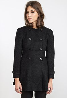 Collarless A-Line Bouclé Coat
