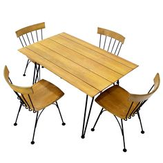 Mid Century Modern Dinette Dining Table 4 Chairs Iron Wood. 3.6K