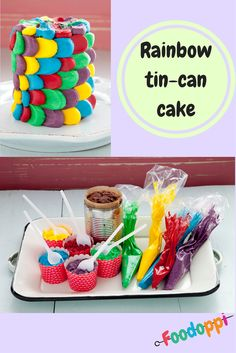 This colourful rainbow cake is simply delicious and so easy to make! Grab a clean tin can and get baking! Cake In A Can, Amazing Food Art, Few Ingredients, Tin, Sweet Treats, Tasty, Rainbow, Canning, Breakfast