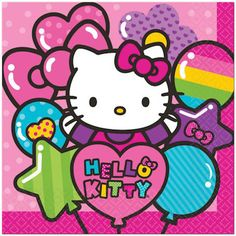 """These rainbow-colored napkins are printed with the iconic Hello Kitty design and are sure to be a standout addition to your birthday table. > Folded size: 6.5"""" x 6.5"""" > Package of 16 > Made in the USA"""