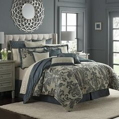 Transform your bedroom into a dreamy retreat with the Waterford Everett Reversible Comforter Set. Beautifully embellished with a deep teal damask design against a taupe chenille ground, the lavish bedding brings exquisite style to any room's decor. Bedroom Colors, Bedroom Ideas, Gray Bedroom Decor, Master Bedroom Decorating Ideas, Teal Master Bedroom, Master Bedroom Makeover, Bedroom Themes, Master Bedrooms, Bedroom Designs