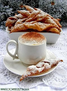Faworki +++ My family makes these amazing fried polish cookies (crispy pastries) for Christmas every year from an old family recipe! Coffee Is Life, Coffee Love, Coffee Break, Morning Coffee, Challah, Croissants, Nespresso, Huge Cake, Polish Recipes