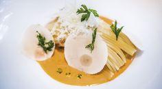 Spaghetti con reducción de langostinos y champiñon #receta