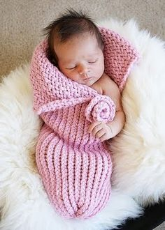 Hand-knit baby cocoons