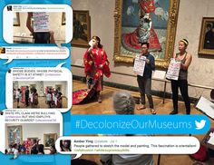 "One of the ""Decolonize Our Museums"" protests at Museum of Fine Arts, plus snapshots of the online discussion. (Courtesy of Amber Ying and Shaina Lu/Decolonize Our Museums)"