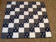 Navy grey and white stag arrow baby boy quilt hand quilted and bound flannel backed