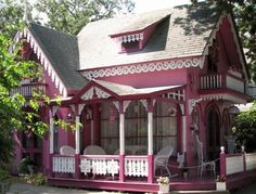 I'm not sure if this is a playhouse or just a regular tiny pink house. I don't care either way; I want one