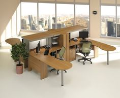 office workspace cool modular wooden desk and stylish swivel chairs in bright office with real office cubicle designoffice