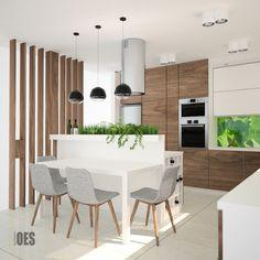 kuchnia z jadalnią, ściana ażurowa z drewna, wysoka zabudowa w kuchni