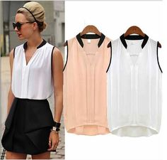 blusas femininas 2015 summer tops printed sleeveless shirt women blouses elegant female chiffon blouse woman clothes plus size Womens Fashion Casual Summer, Women's Summer Fashion, Fashion Women, Matches Fashion, European Fashion, European Style, Blouses For Women, Chiffon Tops, Chiffon Shirt