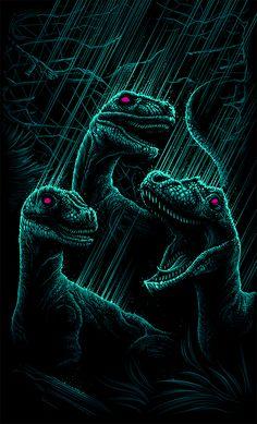"Jurassic Park - Dan Mumford - ''Velociraptor's a Pack Hunter'' ---- Art featured in Hero Complex Gallery's ""Imagined Worlds 2"" -- tribute to Spielberg, Jackson, Nolan, Carpenter, and Cameron (2014-10)"