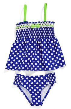 Hula Star Smocked Polka Dot Two-Piece Swimsuit (Toddler Girls & Little Girls) available at #Nordstrom