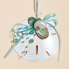 3 inch to 3 1/2 inch Natural Sanddollar Oranment with Aqua Bow and Aqua Beads, Gift Boxed
