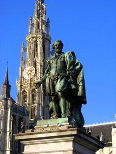 Statue of Rubens, Pieter Paul #belgium #antwerp Notice the dove! :)