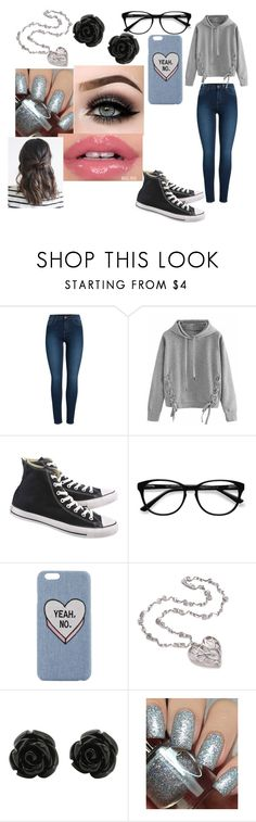 """Untitled #324"" by ohmygshsomeoneactually on Polyvore featuring Pieces, WithChic, Converse, EyeBuyDirect.com, ASAP and Dimepiece"