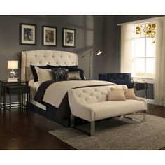 The Peyton Headboard and Tufted Sofa Bench Set in a beautiful off-white has a button tufted design that allows you to create an elegant and timeless look for your bedroom.