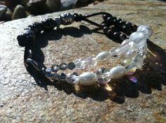 Pearl glass crystal  metal and leather bracelet. by ReadyByDawn, $19.99