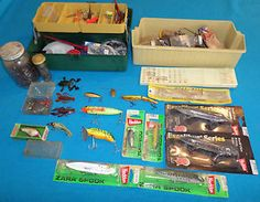Estate Fishing Tackle & Bait Lot, Lures, Hooks, Misc., Heddon, Zara Spook,Rapala