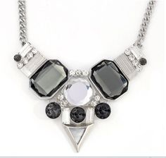 Fashion accessories vintage fashion glass gem personalized Triangular statement Choker necklace female