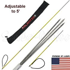 7' Travel Spearfishing 3-Piece Pole Spear 3 Prong Paralyzer Tip Adjustable to 5', Silver