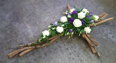 This hand made cross is made from assorted seasonally available branches. Natural and woodland burial, biodegradable as an option. Funeral Floral Arrangements, Flower Arrangements Simple, Church Flowers, Funeral Flowers, Cemetary Decorations, Green Funeral, Funeral Sprays, Funeral Tributes, Corporate Flowers