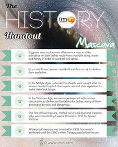 The History Handout - Mascara   The origins of Mascara in under 30 seconds.  Did you know that mascara was first used to ward off evil spirits?  This educational series is brought to you by http://www.imin.com/ and http://www.imin.com/store-coupons/afterglow-cosmetics/