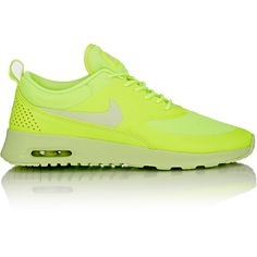 Nike Air Max Thea Sneakers (125 AUD) ❤ liked on Polyvore featuring shoes, sneakers, nike, sports, yellow, neon shoes, sports shoes, perforated sneakers, neon sneakers and nike shoes