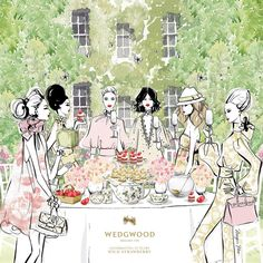 "Megan Hess on Instagram: ""FINAL REVEAL! My illustration for Wedgwood @wedgwoodau Celebrate Spring with a Wedgwood Wild Strawberry Garden Party. Discover their beautiful collection at: Wedgwood.com.au Image Regram from @wedgwoodau #MeganHess #WedgwoodAU #WildStrawberry #GardenParty"""