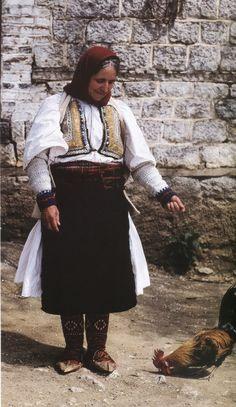Albanian Folk Costumes - Veshje Popullore Shqiptare. Aged woman dress. Rrajcë. First half of XX century.