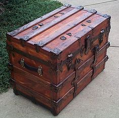 I would love an antique trunk like this for an attic i fix up to look old to fill with vintage dresses and outfits for my kids to play dress up in