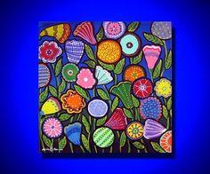 Fun Funky Colorful Flowers Whimsical Original Folk Art Painting via Etsy