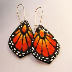 Monarch Butterfly Earrings, Small Orange Statement Earrings Gold wires Handpainted Bohemian Jewelry, Enamel Jewelry