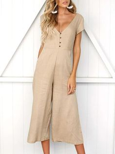 Milumia Womens Casual Solid Baggy Loose Overalls Long Wide Jumpsuit