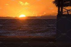 Beach Silhouette Sea Sunset by QueenDesigns on @creativemarket