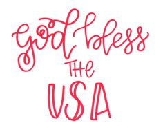God Bless the USA Patriotic Digital Download in Red by JolieJoie