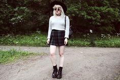 Black fedora hat (H&M) + choker + white crop jumper + tartan skirt + black socks + boots + black leather rucksack