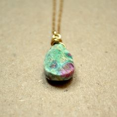 Look like a siren of the sea in this charming mermaid's eye necklace. made of fuchsite...i love this stone!!! @sneakpeeq.com