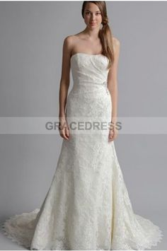 Buy A-line Sweep Brush Train Strapless Lace A line Wedding Dresses A0135 With Quality Guarantee, 7 Days Return Polciy And Free Shipping to UK.
