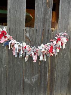 Patriotic Country Farmhouse Decor Fabric Garland Rag Patriotic Garland