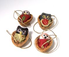 Christmas Ornaments Needle Felted Owls Snuggled in Walnuts {how cute are these?!}