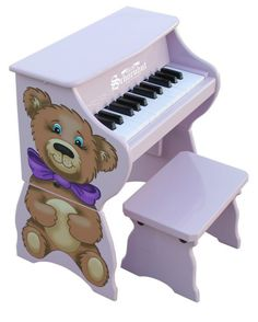 25 Key Tabletop Piano with Bench - Teddy Bear