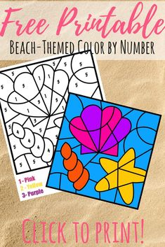 This free color by number beach printable has a fun theme for the summer. Color by number pages are great for early number and color recognition.