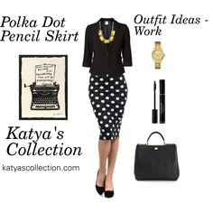 Polka Dot Pencil Skirt - Work Outfit Ideas - Polyvore