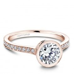 Noam Carver Rose Gold Engagement Ring With 40 Round Diamonds
